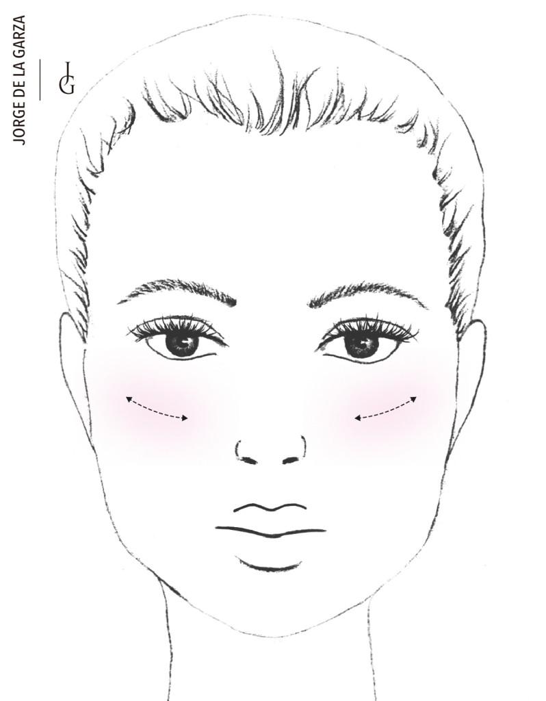 Aplicar colorete rostro corazón