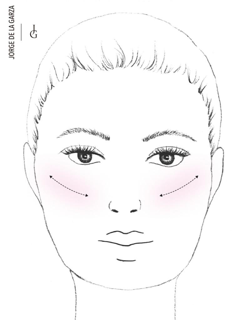 Aplicar colorete rostro cuadrado