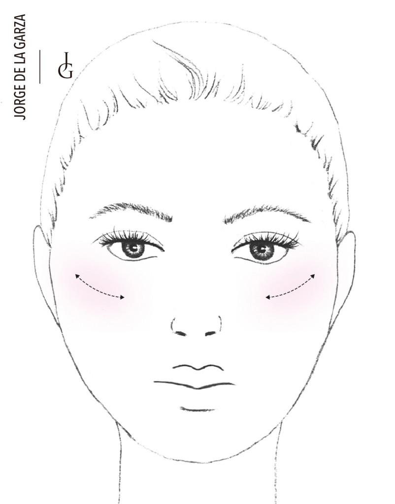 Aplicación del colorete para rostro redondo