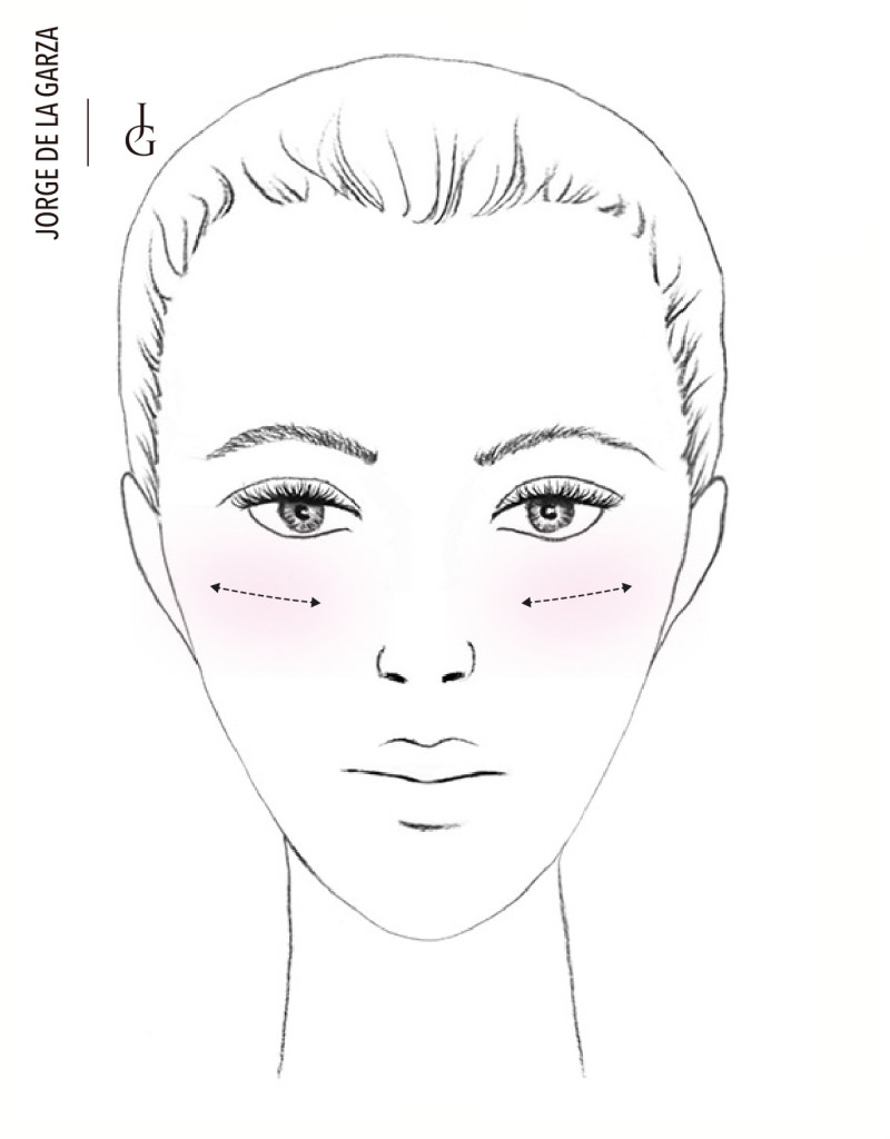 Aplicación del colorete rostro triangular