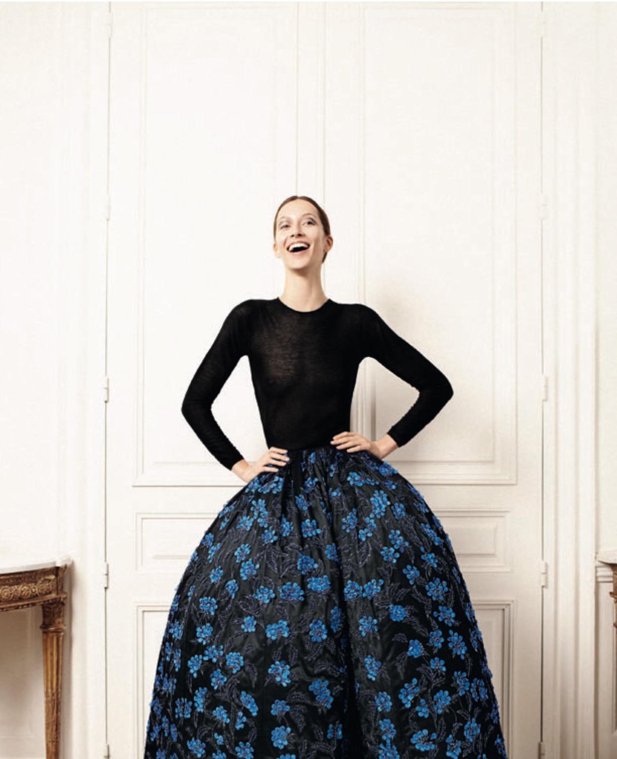 Falda flores azules Christian Dior